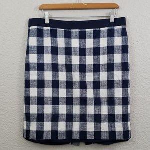J.Crew Pencil skirt gingham print size 12